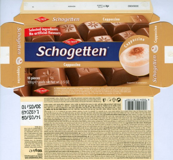 Schogetten, milk chocolate with milk cream filling and capuccino taste, 100g, 14.05.2009, Trumpf Schokoladenfabrik GmbH, Saarlouis, Germany