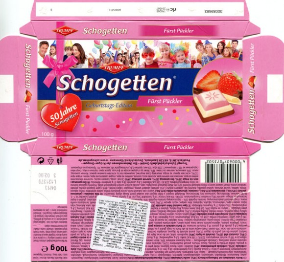 Schogetten, milk chocolate, white chocolate, white chocolate with strawberry, 100g, 04.2012, Trumpf, Novesia GmbH, Aachen, Berlin, F.R.Germany