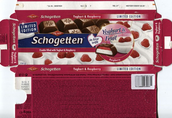 Schogetten, double filled with yoghurt and raspberry, 150g, 03.04.2012, Trumpf, Ludwig Schokolade GmbH & Co. KG, Saarlouis, Germany