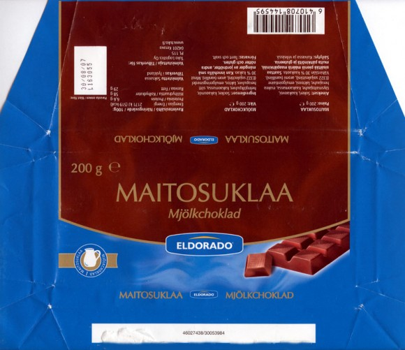 Eldorado, milk chocolate, 200g, 30.08.2006, made in Germany, Tuko Logistics Oy, Kerava, Finland