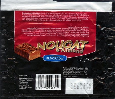 Eldorado, milk chocolate with nougat and almond, 57g, 30.08.2006, made in Germany, Tuko Logistics Oy, Kerava, Finland