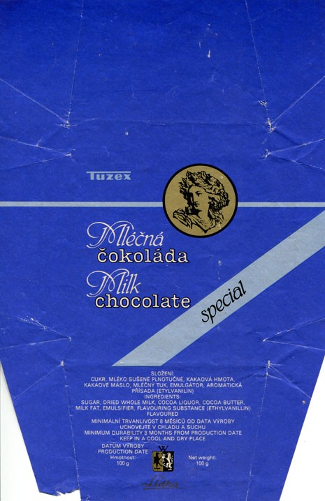 Special milk chocolate, 100g, about 1990, Tuzex, Olomouc, Czech Republic