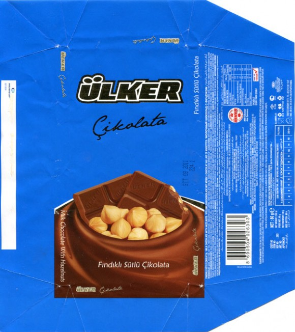 Milk chocolate with hazets, 80g, 08.2010, Produced by Ulker Gida Sanay Ticaret A.S, Stanbul, Turkey