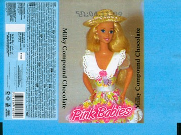 Pink babies, milk compound chocolate, 20g, 2009, Turkey
