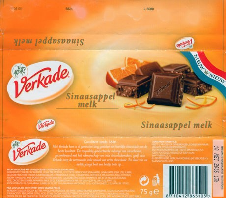 Milk chocolate with sweet dried orange pieces, 75g, 2006, Verkade, Zaandam, Netherlands