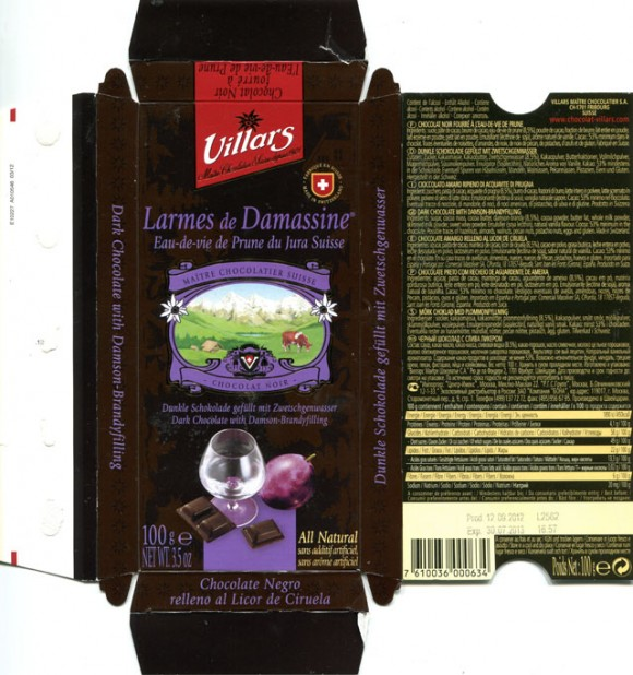 Dark chocolate with Damson-brandyfilling, 100g, 12.09.2012, Villars Maitre Chocolatier S.A., Fribourg, Switzerland