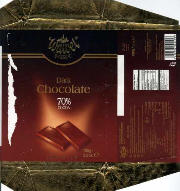 Dark chocolate, 100g, 08.2004, Wawel, Krakow, Poland