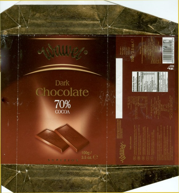 Dark chocolate 70%, 100g, 05.2006, Wawel SA, Krakow, Poland