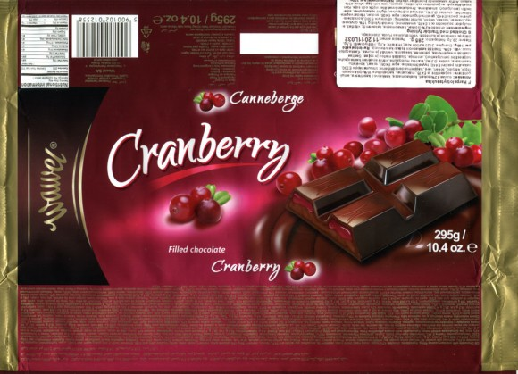 Chocolate with cranberry-cocoa filling, 295g, 11.2010, Wawel S.A., Krakow, Poland