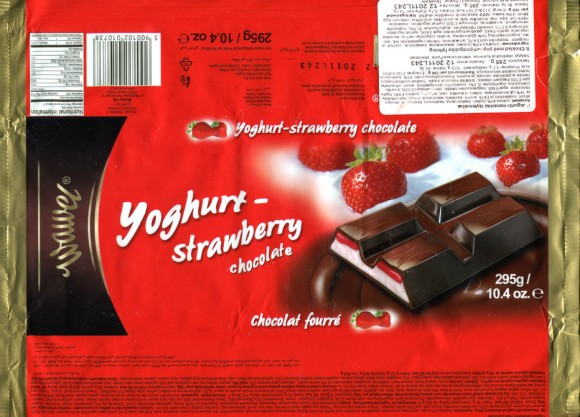 Chocolate with yoghurt-strawberry filing, 295g, 12.2010, Wawel S.A., Krakow, Poland