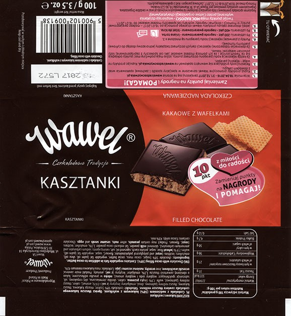 Chocolate with cocoa filling, 100g, 15.2016, Wawel S.A., Krakow, Poland