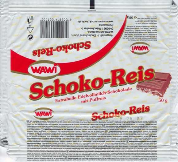 Milk chocolate with puffed rice and extruded cereals, 50g, 05.02.2006, Wawi-Schokolade, Munchweiler, Germany