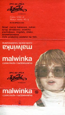 Malwinka, filled chocolate, 45g, E.Wedel, Warszawa, Poland
