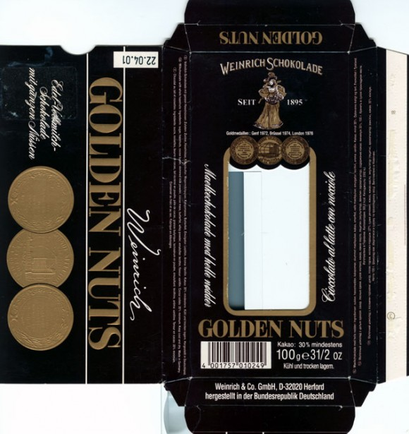 Golden Nuts, milk chocolate with whole hazelnuts, 100g, 22.04.2001