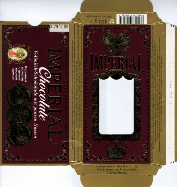 Imperial, Milk chocolate with whole hazelnuts, 100g, 29.12.2004, Ludwig Weinrich GmbH&Co., Herford, Germany