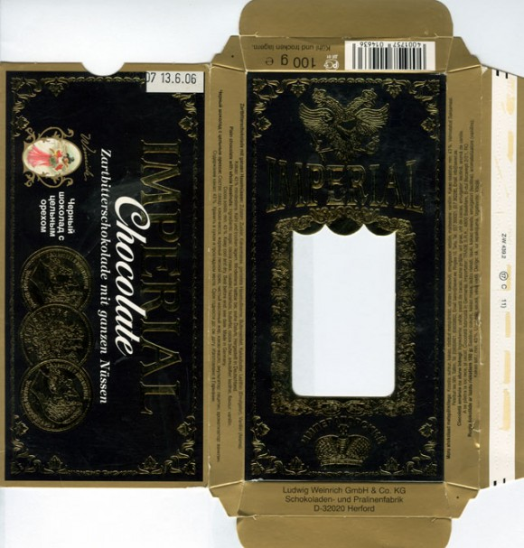 Imperial, dark chocolate with nuts, 100g, 13.06.2005, Ludwig Weinrich GmbH&Co., Herford, Germany