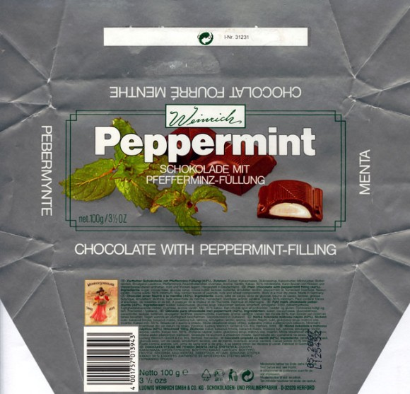 Plain chocolate with peppermint filling, 100g, 05.2006, Ludwig Weinrich GmbH&Co., Herford, Germany