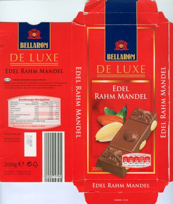 Bellarom, de Luxe, milk chocolate with hazelnuts, 200g, 31.08.2008, Ludwig Weinrich & Co. GmbH, Herford, Germany
