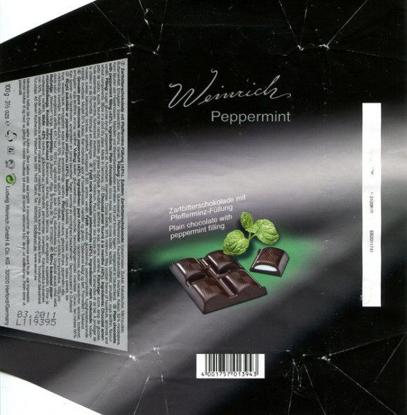 Plain chocolate with peppermint filling, 100g, 03.2010, Ludwig Weinrich & Co. GmbH, Herford, Germany