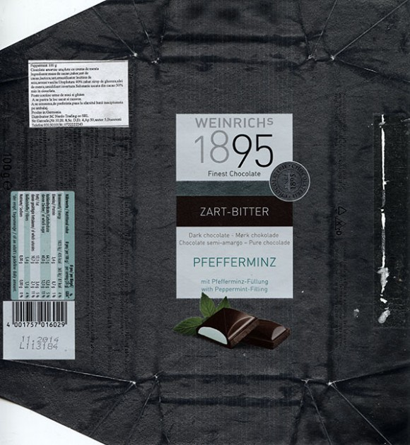 Dark chocolate with mint, 100g, 11.2013, Ludwig Weinrich GmbH, Herford, Germany