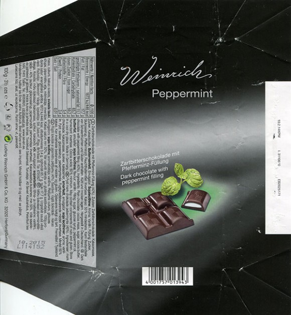 Dark chocolate with peppermint filling, 100g, 10.2014, Ludwig Weinrich GmbH, Herford, Germany