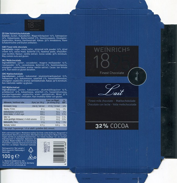 Milk chocolate, 100g, 11.2013, Ludwig Weinrich GmbH and Co.KG, Herford, Germany