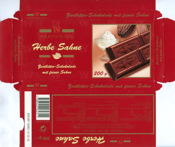 Herbe Sahne, bittersweet chocolate, 200g, 22.09.2006, Wertsiegel, Germany