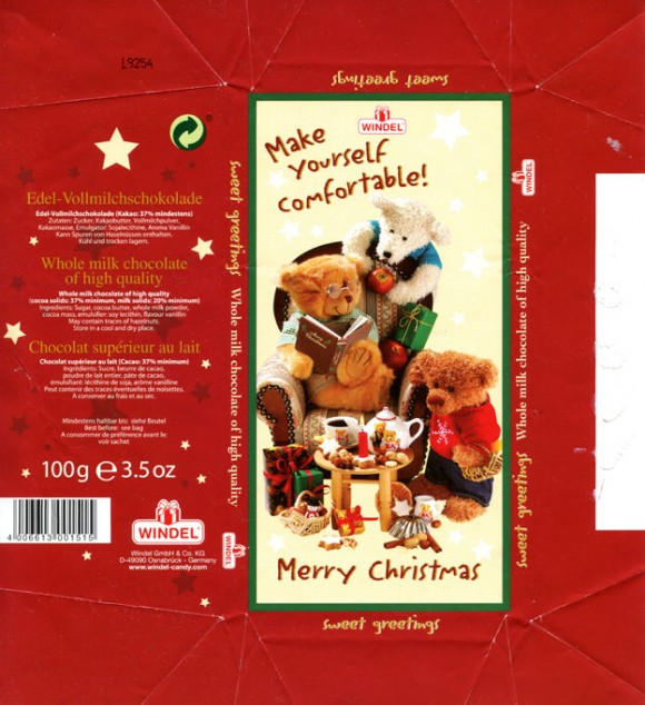 Make yourself comfortable!, Merry Christmas, whole milk chocolate of high quality, 100g, 2009, Windel GmbH & Co.KG, Osnabruck, Germany