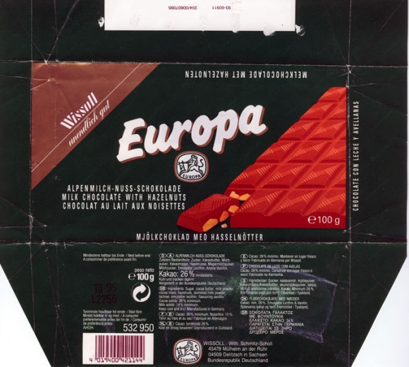Europa, milk chocolate with hazelnuts, 100g, 10.1996