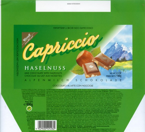 Capriccio, milk chocolate with hazelnuts, 100g, 1999, Wissoll, Germany