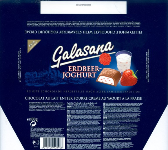 Galasana, filled milk chocolate with hazelnut praline filling, 100g, 1999, Wissoll, Germany