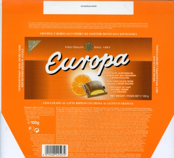 Europa, milk chocolate with orange creme filling, 100g, 1999, Wissoll, Germany