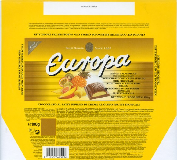 Europa, milk chocolate with tropical fruit creme filling, 100g, 1999, Wissoll, Germany