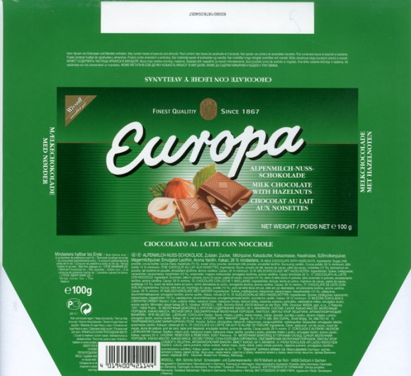 Europa, milk chocolate with hazelnuts, 100g, 1999, Wissoll, Germany