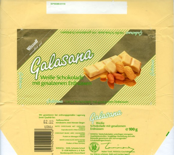 Galasana, white chocolate with salted peanuts, 100g, 02.1991, Wissoll- Wilh.Schmitz-Scholl, Mulheim an der Ruhr, Germany