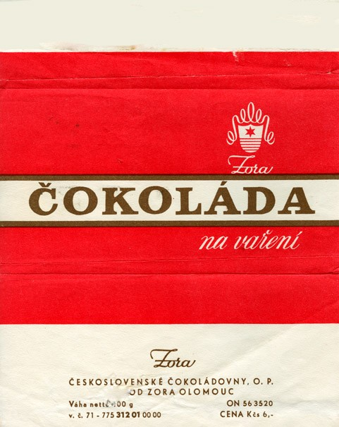 Milk chocolate, 100g, about 1975, Zora, Olomouc, Czech Republic (CZECHOSLOVAKIA)