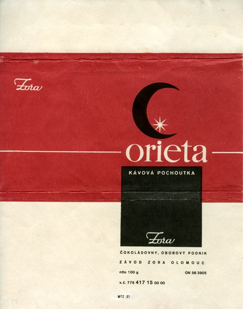 Orieta, milk chocolate, 100g, 1975, Zora, Olomouc, Czech Republic (CZECHOSLOVAKIA)