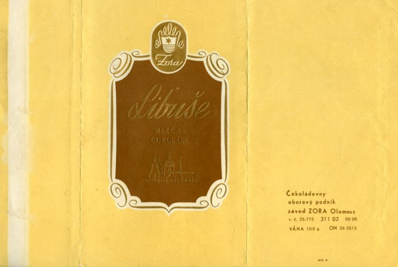 Libuse, milk chocolate, 100g, 1965, Zora, Olomouc, Czech Republic (CZECHOSLOVAKIA)