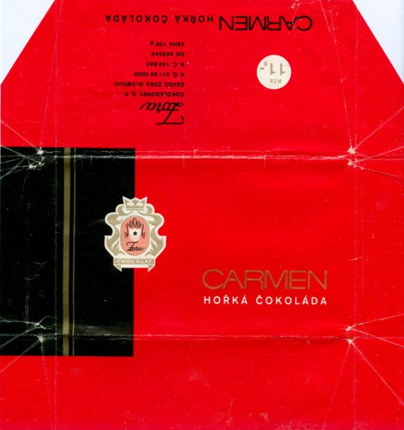 Carmen, dark chocolate, 100g, 1985, Zora, Olomouc, Czech Republic (CZECHOSLOVAKIA)
