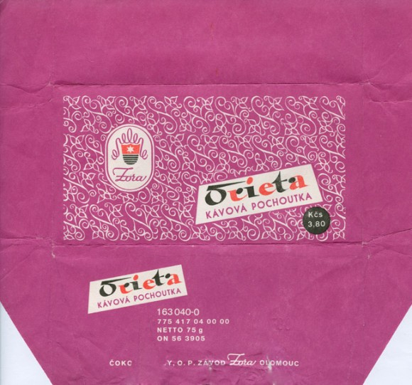 Orieta, milk chocolate, 75g, 1986, Zora, Olomouc, Czech Republic (CZECHOSLOVAKIA)