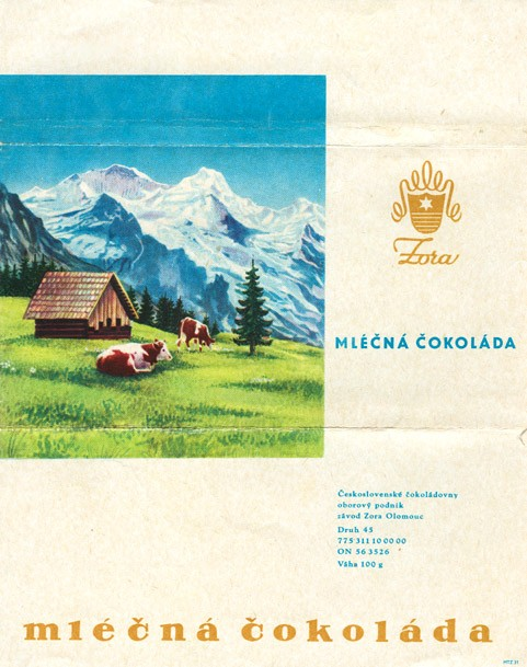 Milk chocolate, 100g, 1970, Zora, Olomouc, Czech Republic (CZECHOSLOVAKIA)