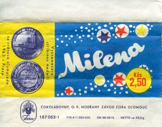 Milena, milk chocolate, 33,3g, 1965, Zora, Olomouc, Czech Republic (CZECHOSLOVAKIA)