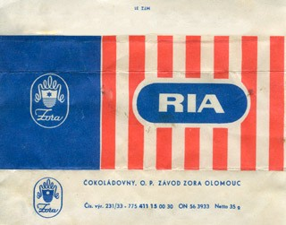 Ria, milk chocolate, 35g, 1968, Zora, Olomouc, Czech Republic (CZECHOSLOVAKIA)