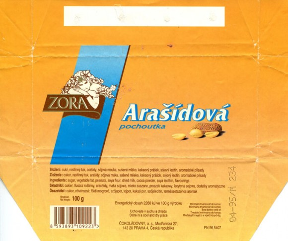 Arasidova, chocolate with nuts, 100g, 04.1994, Cokoladovny a.s., Praha, Czech Republic