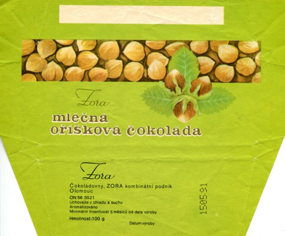 Milk chocolate with nuts, 100g, 15.05.1990, Cokoladovny a.s., Praha, Czech Republic