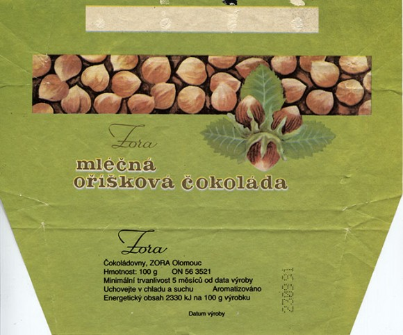 Milk chocolate with nuts, 100g, 23.09.1991, Cokoladovny, Zora, Olomouc, Czechoslovakia