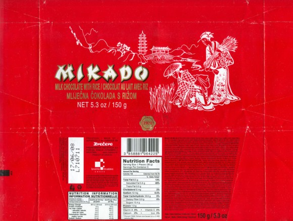 Mikado, milk chocolate with rice, 150g, 17.06.2007, Zvecevo, Croatia