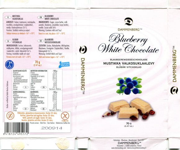 Blueberry white chocolate, 70g, 20.09.2013, Dammenberg, Lempaala, Finland