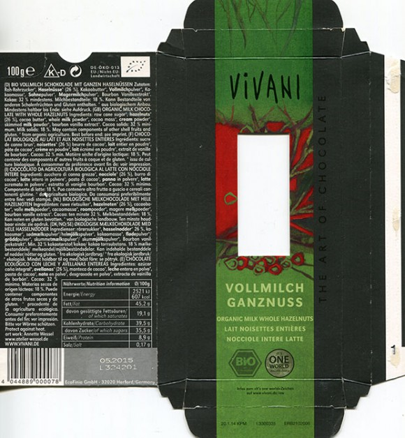 Vivani, organic milk whole hazelnut, 100g, 05.2014, EcoFinia GmbH, Herford, Germany/ art work Annette Wessel