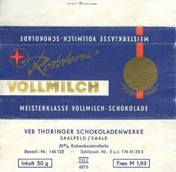 Milk chocolate, 50g, about 1970, Thuringer Schokoladenwerke, Saalfeld, Germany